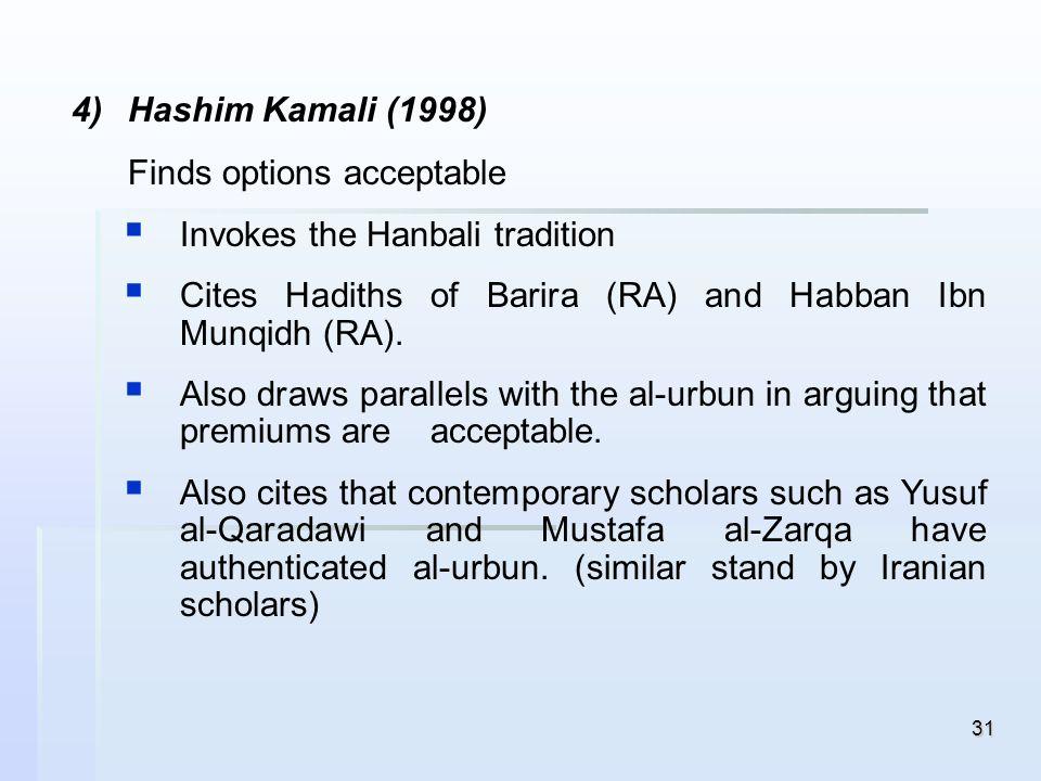 31 4) 4)Hashim Kamali (1998) Finds options acceptable Invokes the Hanbali tradition Cites Hadiths of Barira (RA) and Habban Ibn Munqidh (RA). Also dra
