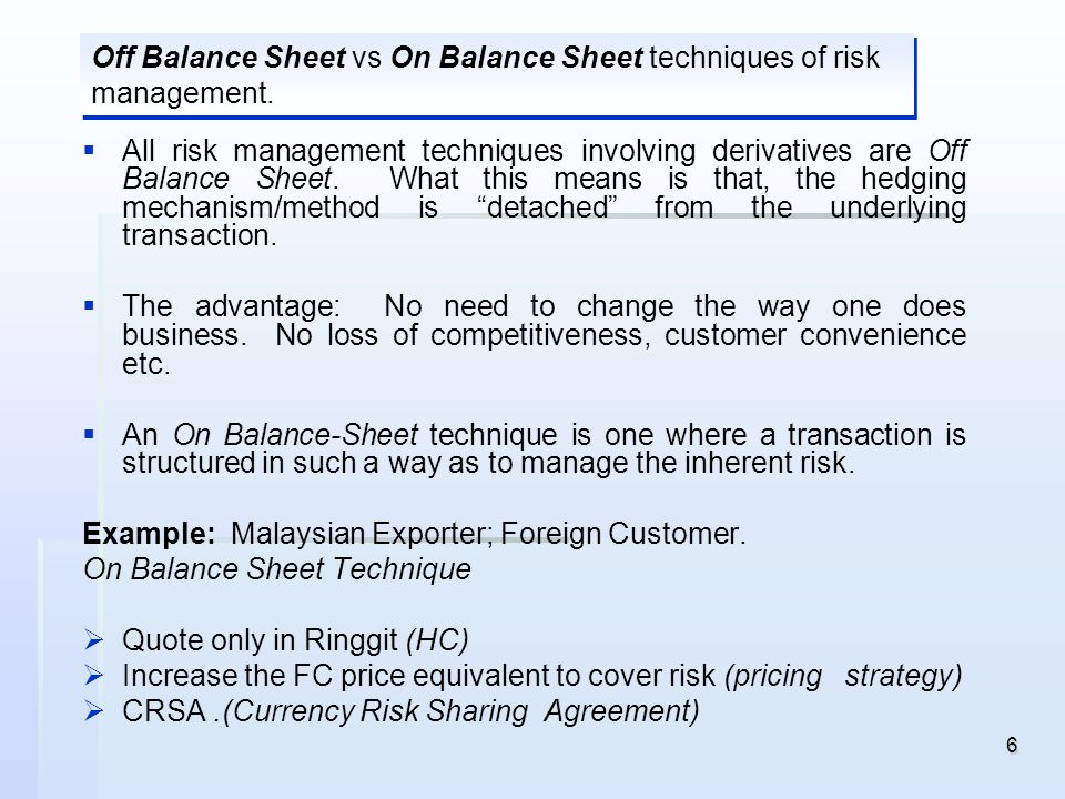 6 All risk management techniques involving derivatives are Off Balance Sheet. What this means is that, the hedging mechanism/method is detached from t