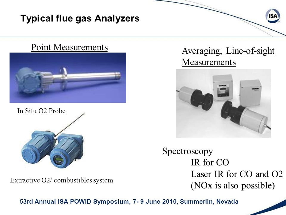 53rd Annual ISA POWID Symposium, 7- 9 June 2010, Summerlin, Nevada Typical flue gas Analyzers In Situ O2 Probe Extractive O2/ combustibles system Point Measurements Averaging, Line-of-sight Measurements Spectroscopy IR for CO Laser IR for CO and O2 (NOx is also possible)