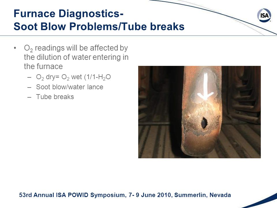 53rd Annual ISA POWID Symposium, 7- 9 June 2010, Summerlin, Nevada Furnace Diagnostics- Soot Blow Problems/Tube breaks O 2 readings will be affected by the dilution of water entering in the furnace –O 2 dry= O 2 wet (1/1-H 2 O –Soot blow/water lance –Tube breaks