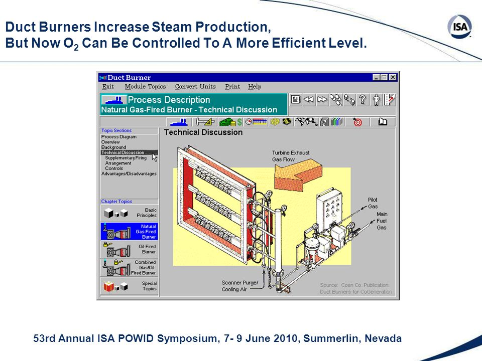 53rd Annual ISA POWID Symposium, 7- 9 June 2010, Summerlin, Nevada Duct Burners Increase Steam Production, But Now O 2 Can Be Controlled To A More Efficient Level.