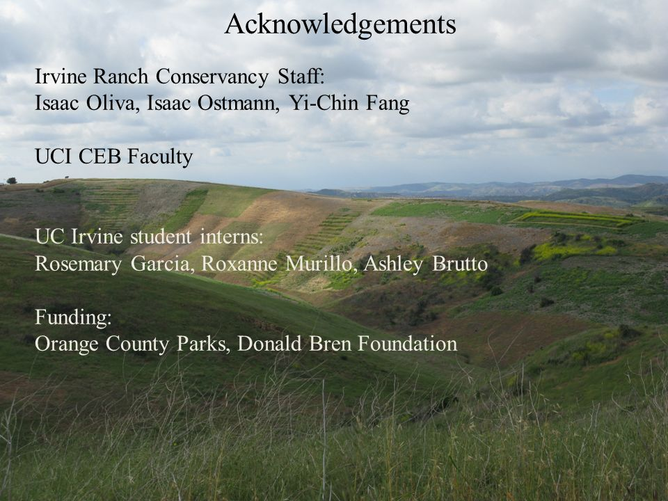 Acknowledgements Irvine Ranch Conservancy Staff: Isaac Oliva, Isaac Ostmann, Yi-Chin Fang UCI CEB Faculty UC Irvine student interns: Rosemary Garcia,