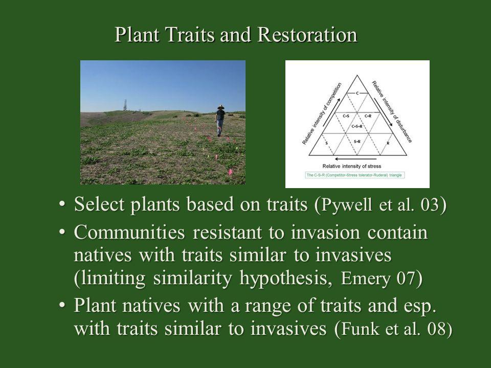 Plant Traits and Restoration Select plants based on traits ( Pywell et al. 03 ) Select plants based on traits ( Pywell et al. 03 ) Communities resista