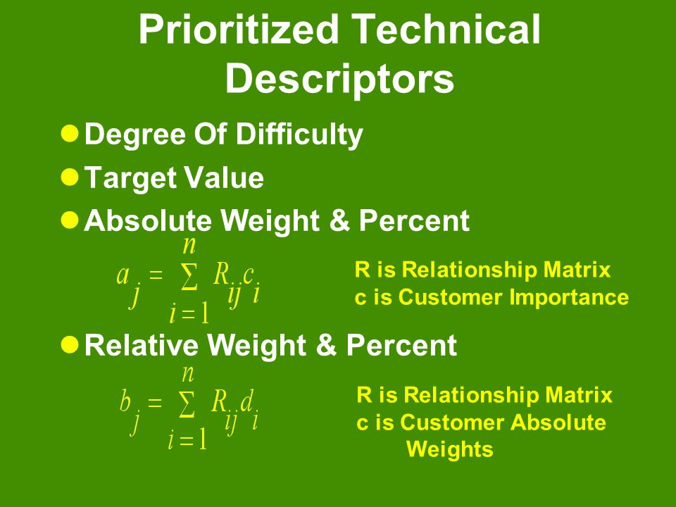 Prioritized Technical Descriptors Degree Of Difficulty Target Value Absolute Weight & Percent Relative Weight & Percent R is Relationship Matrix c is