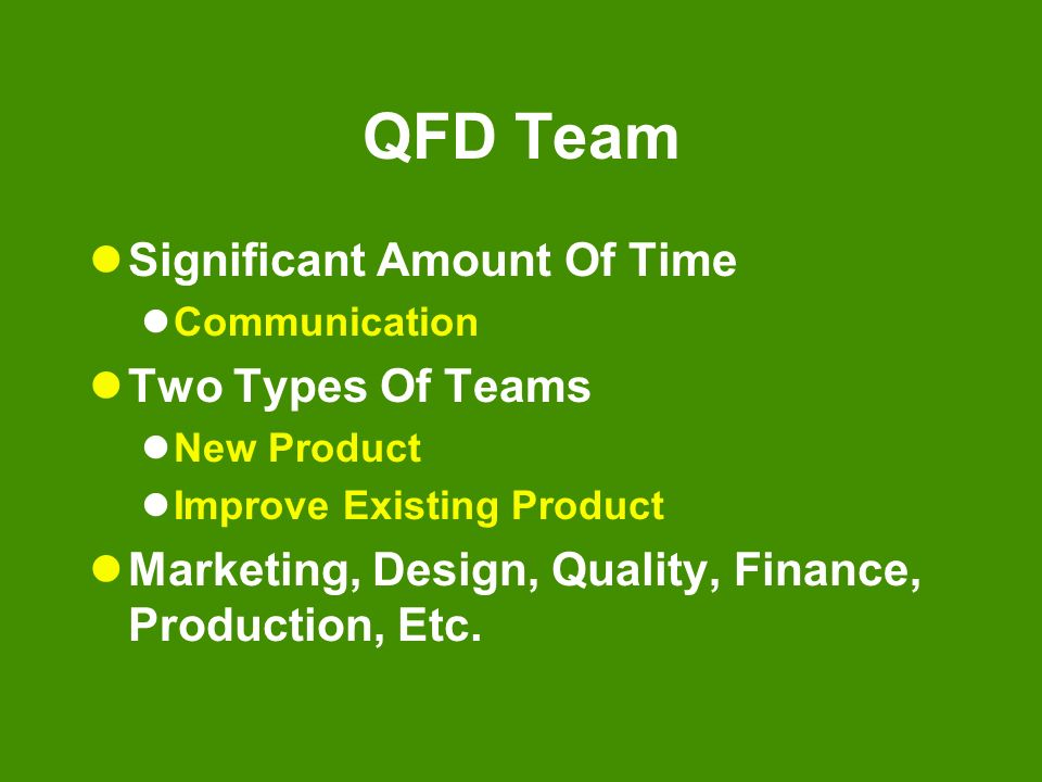 QFD Team Significant Amount Of Time Communication Two Types Of Teams New Product Improve Existing Product Marketing, Design, Quality, Finance, Product