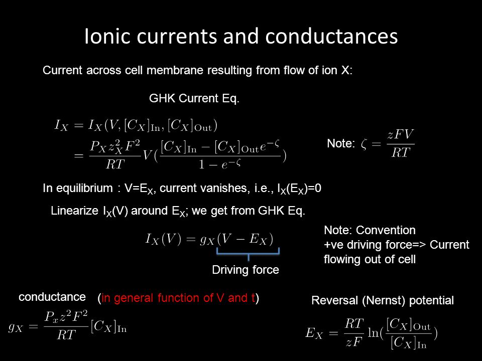 Ionic currents and conductances Current across cell membrane resulting from flow of ion X: GHK Current Eq.