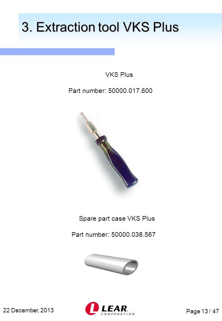 Page 13 / 47 22 December, 2013 Spare part case VKS Plus Part number: 50000.038.567 3. Extraction tool VKS Plus 3. Extraction tool VKS Plus VKS Plus Pa