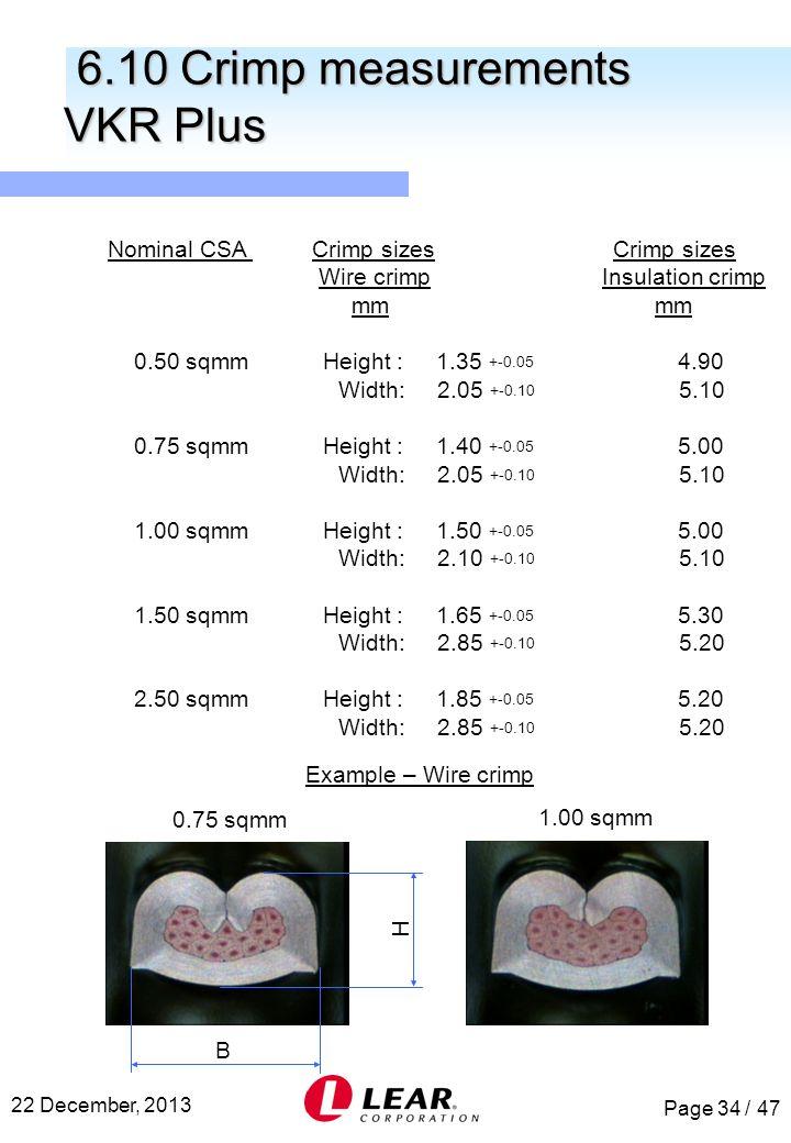 Page 34 / 47 22 December, 2013 Nominal CSA Crimp sizes Crimp sizes Wire crimp Insulation crimp mm mm 0.50 sqmm Height : 1.35 +-0.05 4.90 Width: 2.05 +
