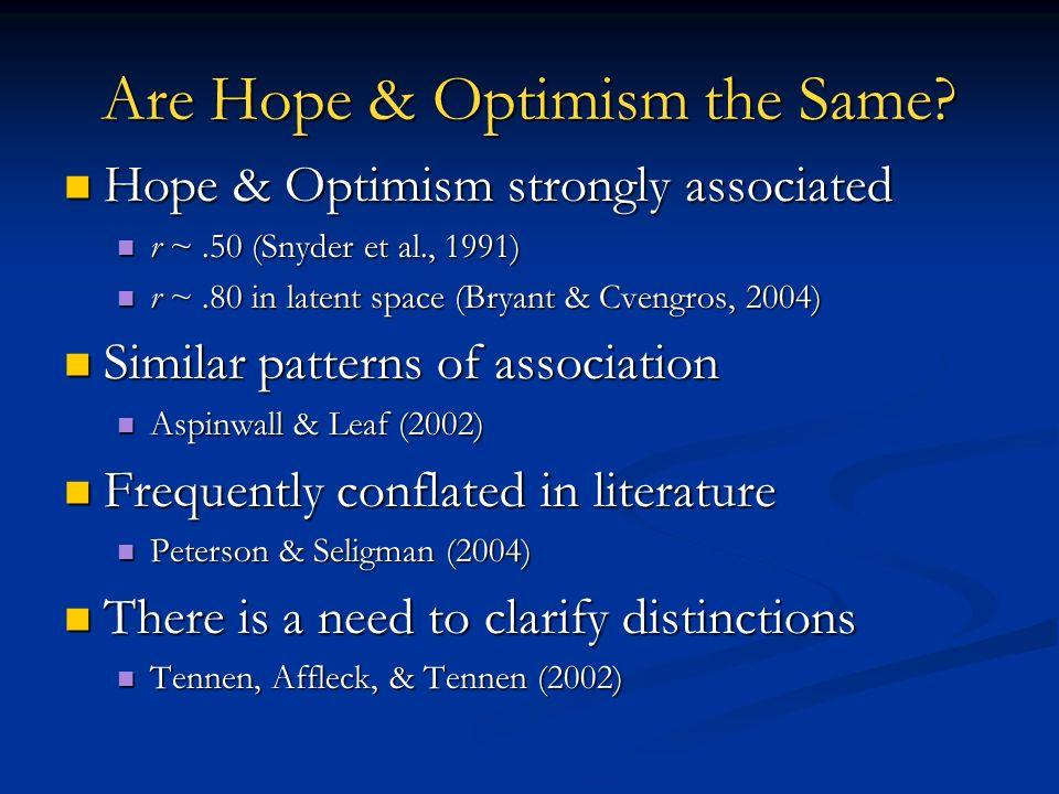 Are Hope & Optimism the Same? Hope & Optimism strongly associated Hope & Optimism strongly associated r ~.50 (Snyder et al., 1991) r ~.50 (Snyder et a