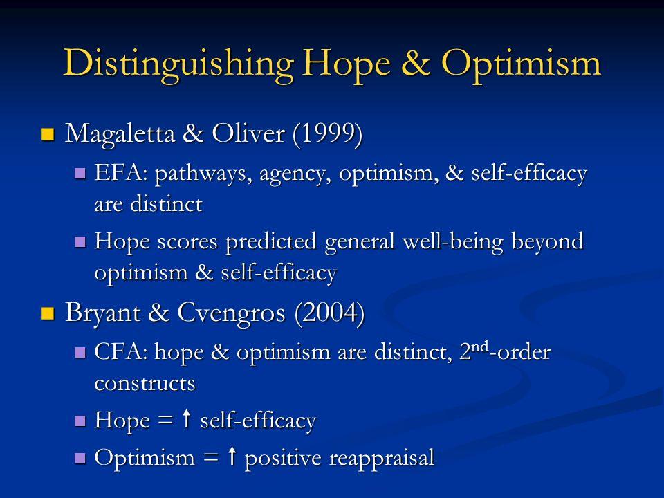 Distinguishing Hope & Optimism Magaletta & Oliver (1999) Magaletta & Oliver (1999) EFA: pathways, agency, optimism, & self-efficacy are distinct EFA: