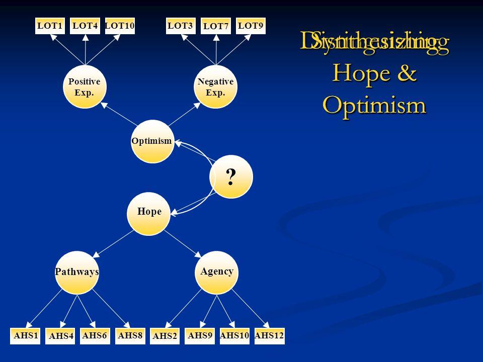 AHS12AHS10AHS9 AHS2 AHS8AHS6 AHS4 AHS1 LOT10LOT1LOT4LOT3 LOT7 LOT9 Pathways Agency Hope Optimism Positive Exp. Negative Exp. ? Distinguishing Hope & O