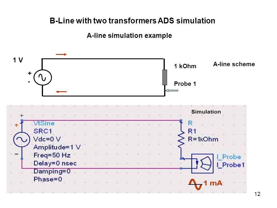 12 +-+- 1 V 1 kOhm Probe 1 A-line scheme B-Line with two transformers ADS simulation A-line simulation example