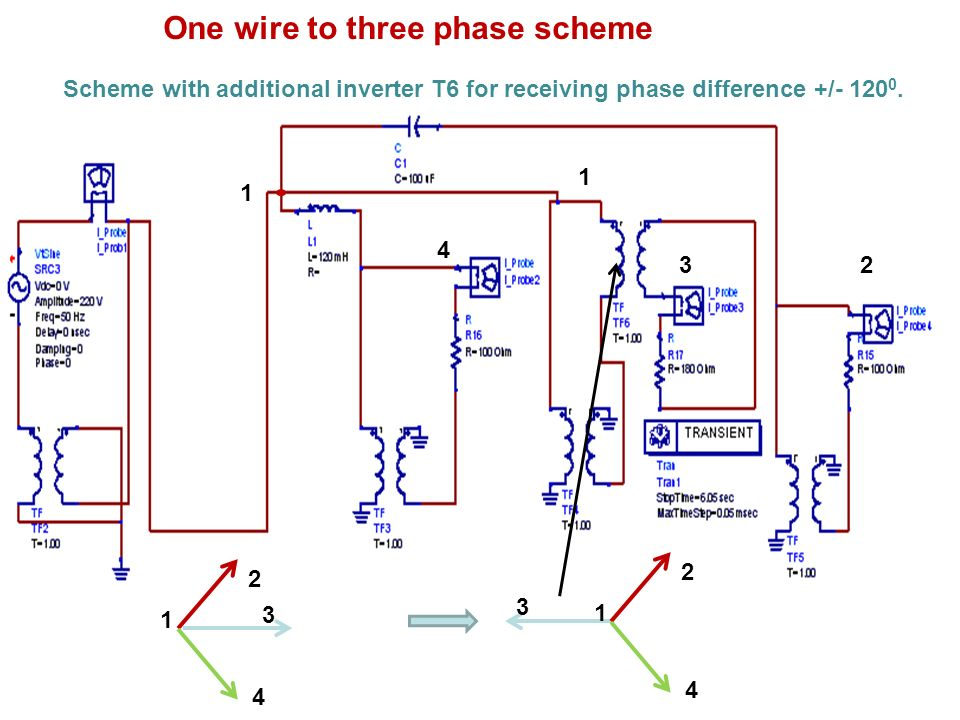 Scheme with additional inverter T6 for receiving phase difference +/- 120 0. 2 3 4 1 2 3 4 1 One wire to three phase scheme 1 2 4 3 1