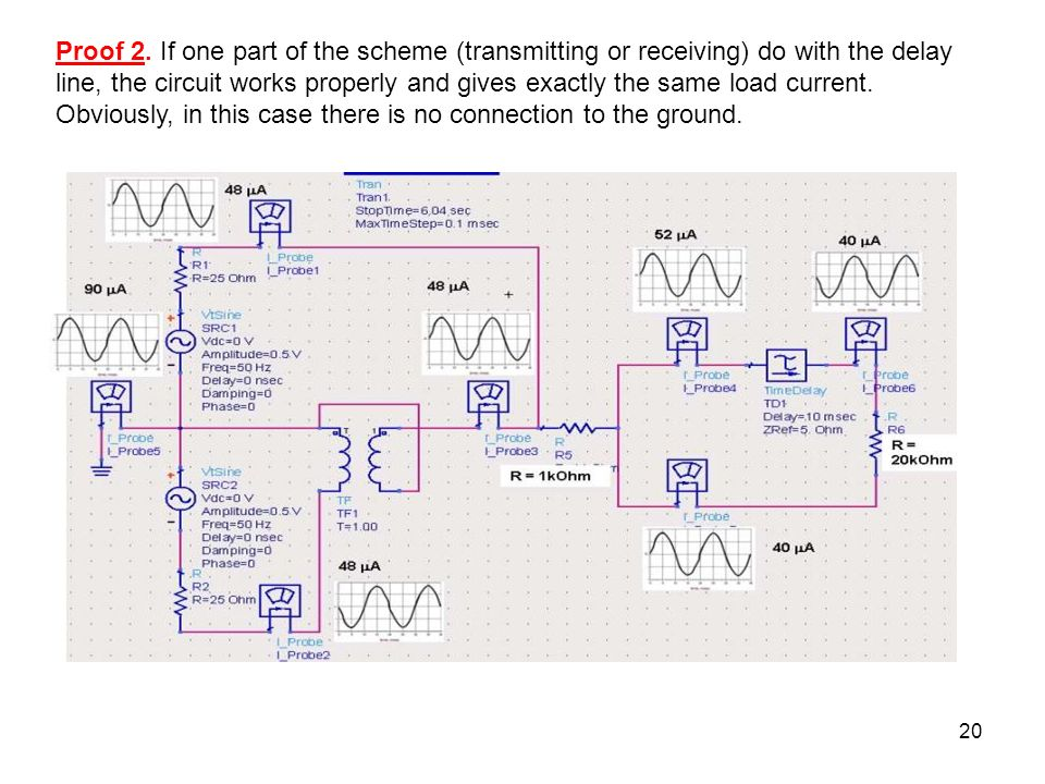 20 Proof 2. If one part of the scheme (transmitting or receiving) do with the delay line, the circuit works properly and gives exactly the same load c