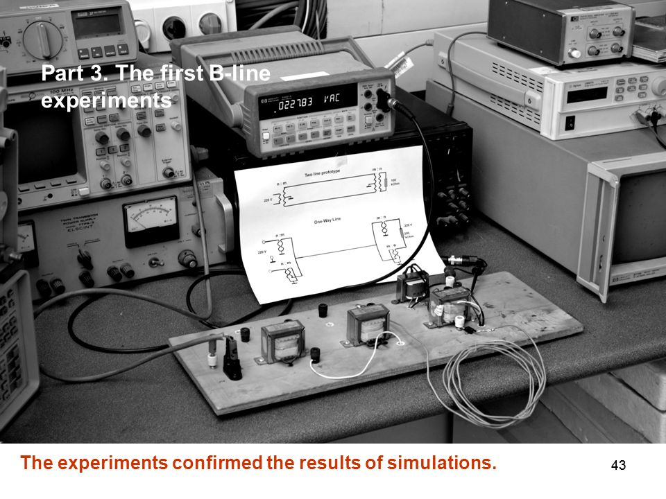 43 The experiments confirmed the results of simulations. Part 3. The first B-line experiments