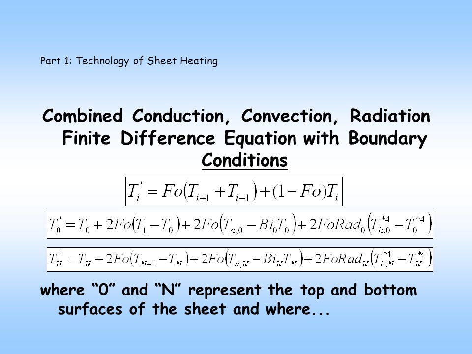 Part 1: Technology of Sheet Heating Combined Conduction, Convection, Radiation Finite Difference Equation with Boundary Conditions where 0 and N represent the top and bottom surfaces of the sheet and where...