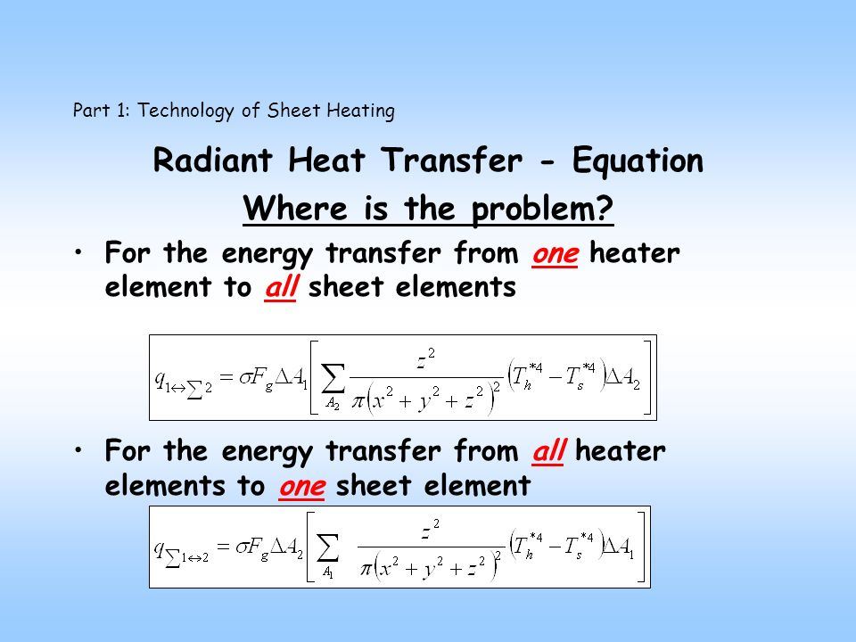 Part 1: Technology of Sheet Heating Radiant Heat Transfer - Equation Where is the problem.