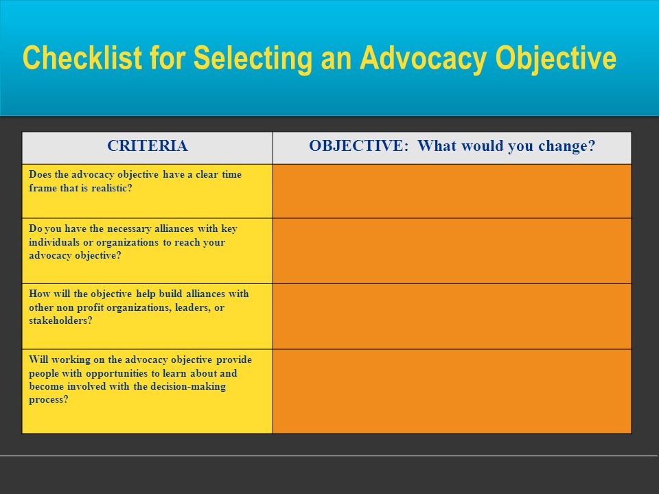 CRITERIAOBJECTIVE: What would you change? Does the advocacy objective have a clear time frame that is realistic? Do you have the necessary alliances w