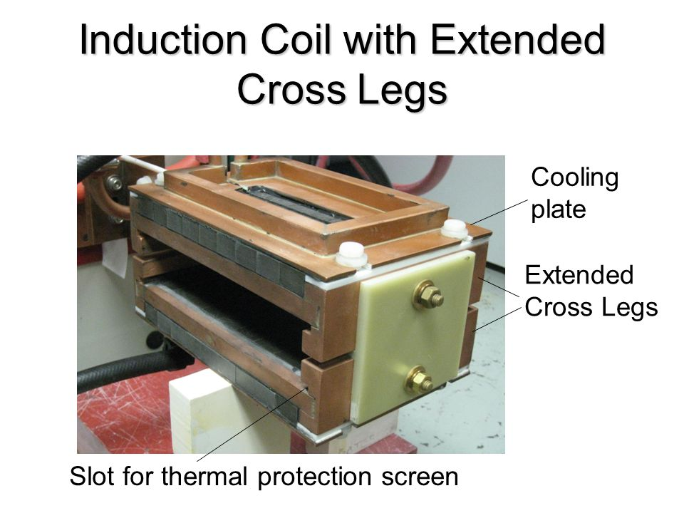 Induction Coil with Extended Cross Legs Cooling plate Extended Cross Legs Slot for thermal protection screen