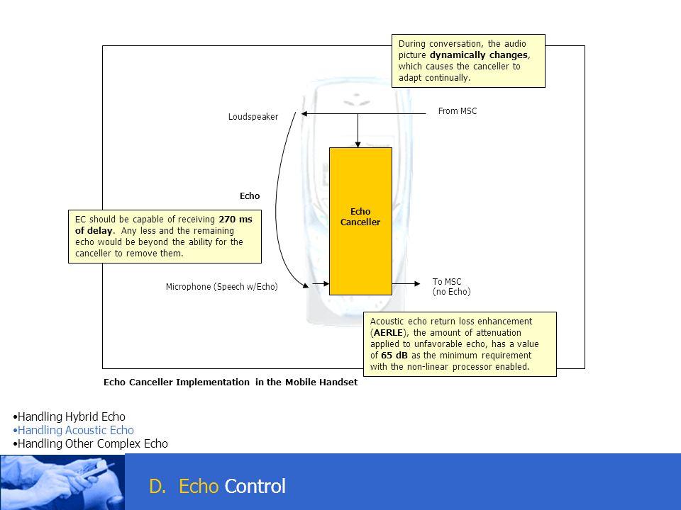 D. Echo Control Handling Hybrid Echo Handling Acoustic Echo Handling Other Complex Echo D. Echo Control Echo Canceller Implementation in the Mobile Ha