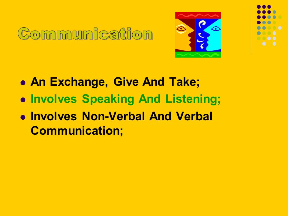 An Exchange, Give And Take; Involves Speaking And Listening; Involves Non-Verbal And Verbal Communication;