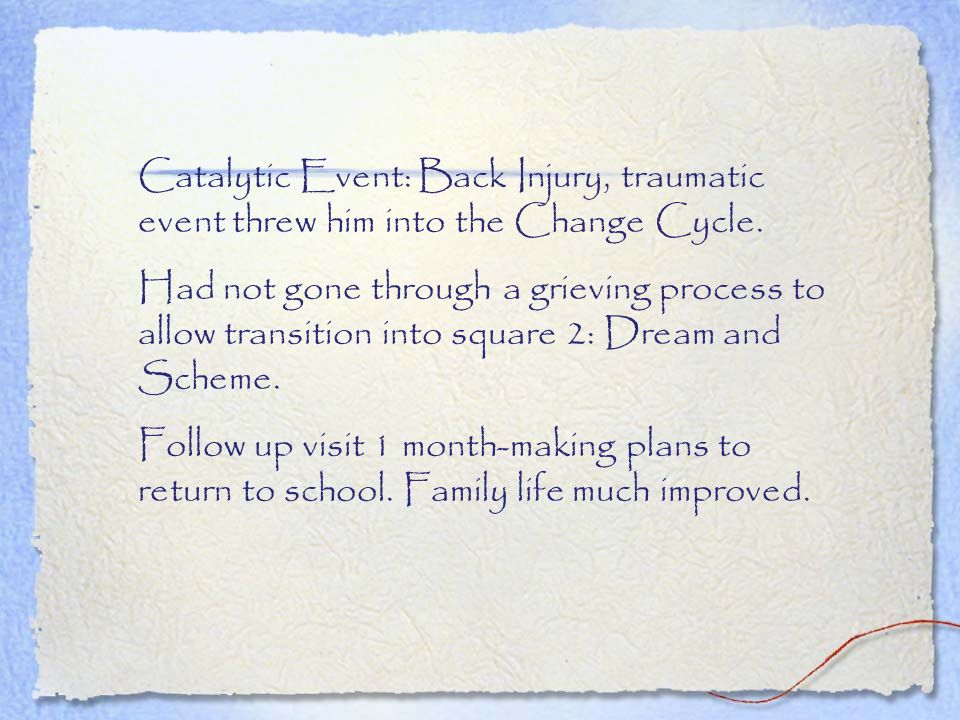 Catalytic Event: Back Injury, traumatic event threw him into the Change Cycle. Had not gone through a grieving process to allow transition into square