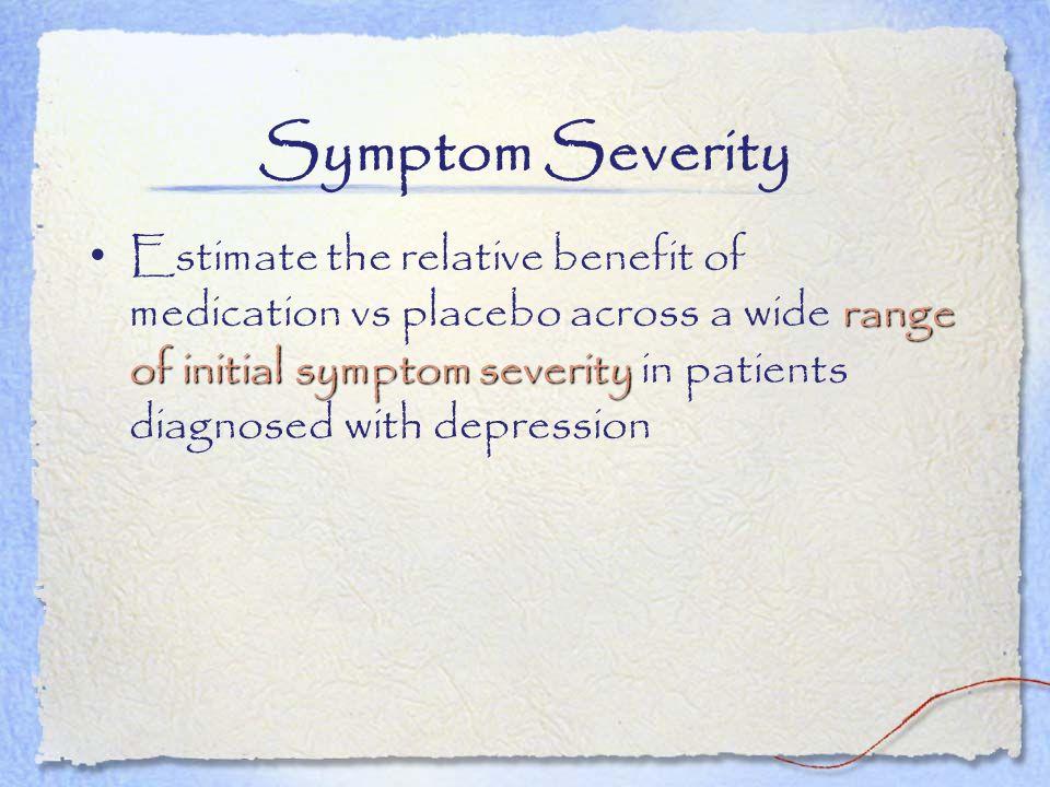 Symptom Severity range of initial symptom severity Estimate the relative benefit of medication vs placebo across a wide range of initial symptom sever