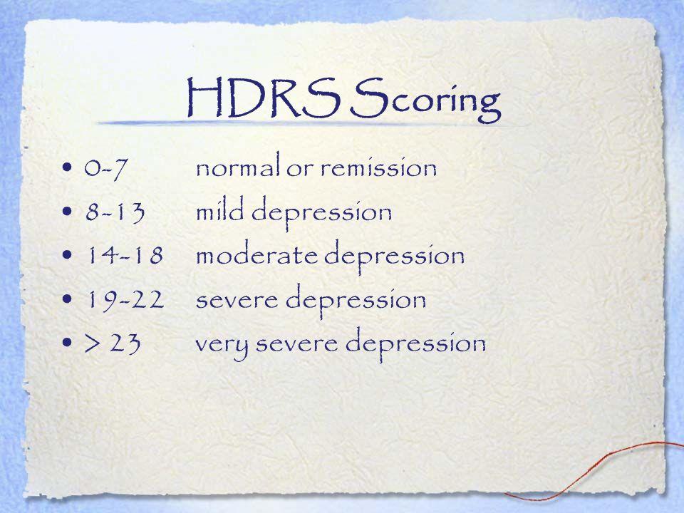 HDRS Scoring 0-7 normal or remission 8-13 mild depression 14-18 moderate depression 19-22 severe depression > 23very severe depression