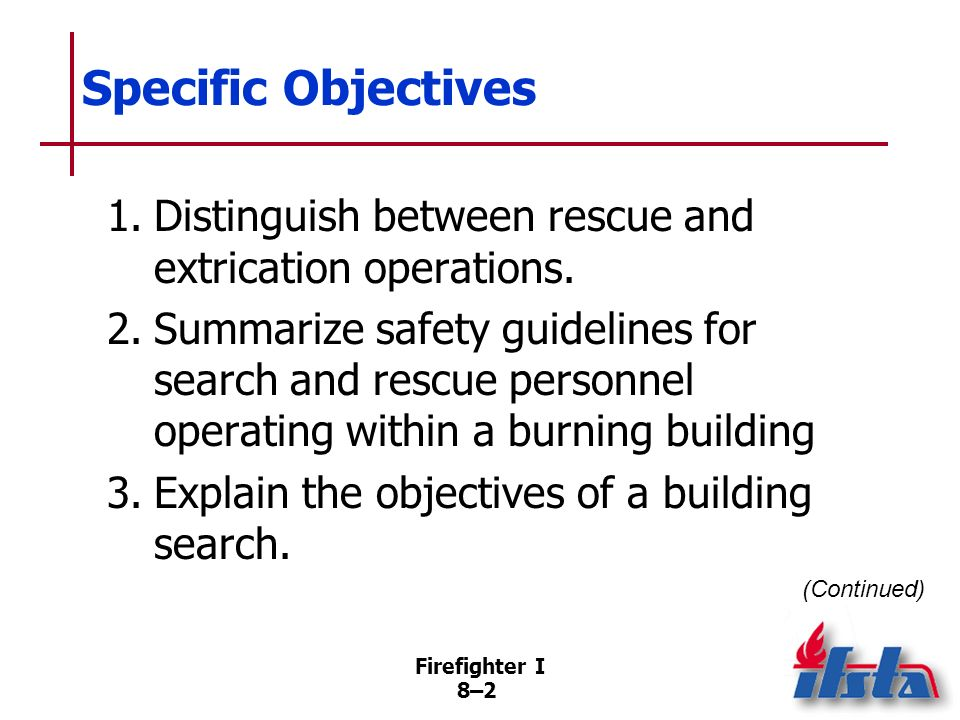Firefighter I 8–42 When Searching Within A Burning Building Open doors cautiously Feel top of door and door knob to determine heat level Do not remain in front of door while being opened (Continued)