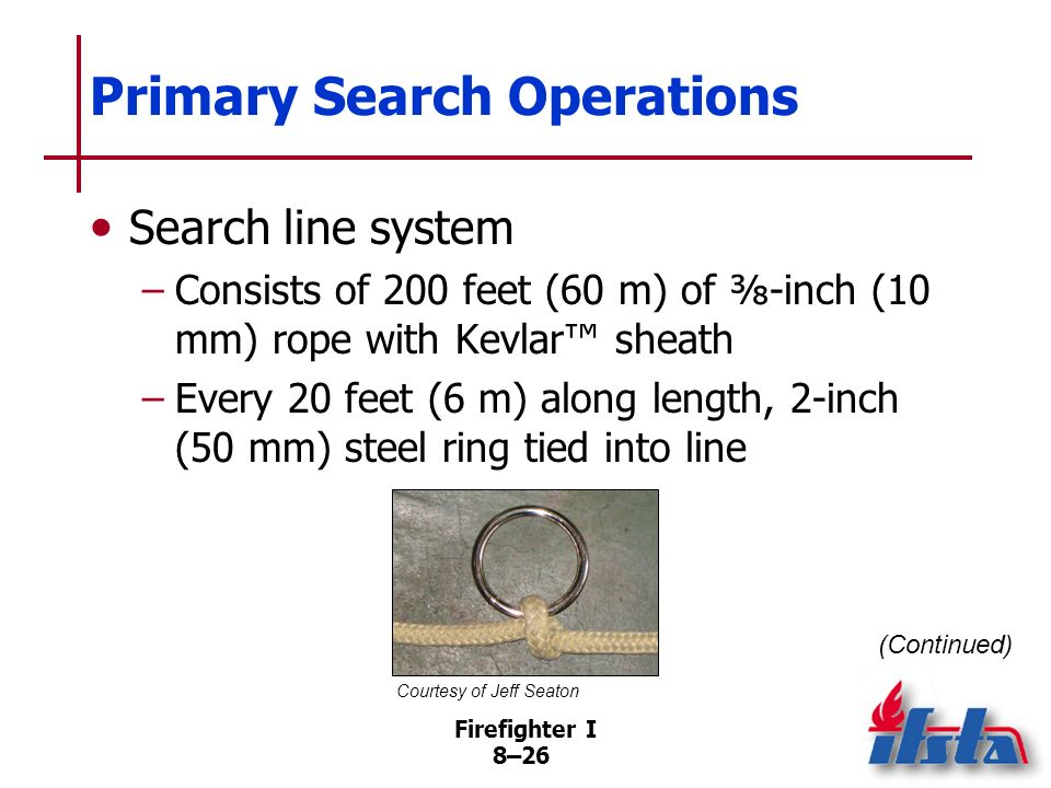 Firefighter I 8–25 Primary Search Operations Making reports –Report essentials to supervisor/Command –Maintain radio contact with supervisor –Negative