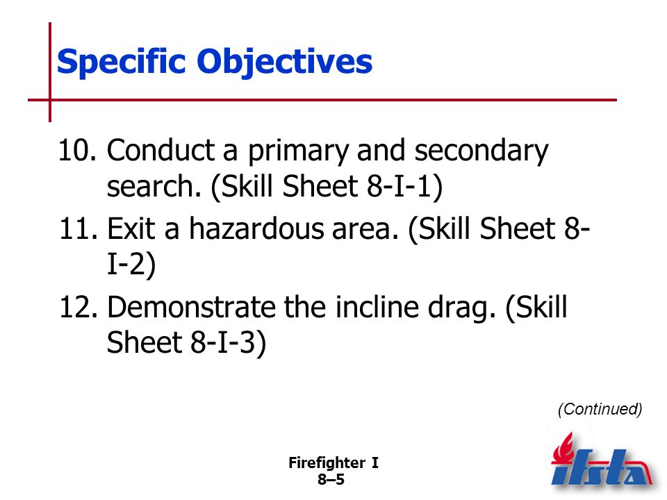Firefighter I 8–5 Specific Objectives 10.Conduct a primary and secondary search.