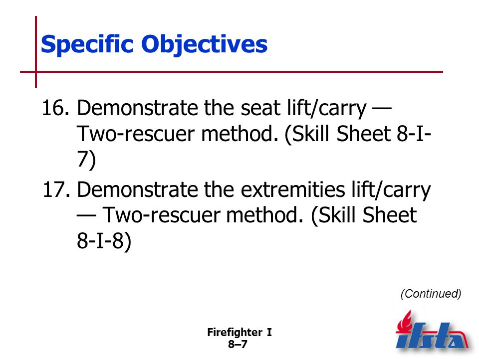 Firefighter I 8–7 Specific Objectives 16.Demonstrate the seat lift/carry Two-rescuer method.