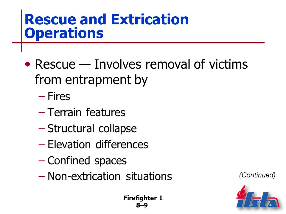 Firefighter I 8–59 Actions Once Downed Firefighter Located Need to exit hostile atmosphere usually overrides need to stabilize injuries prior to moving If firefighter has functioning SCBA, carefully move him/her so as not to dislodge mask (Continued)