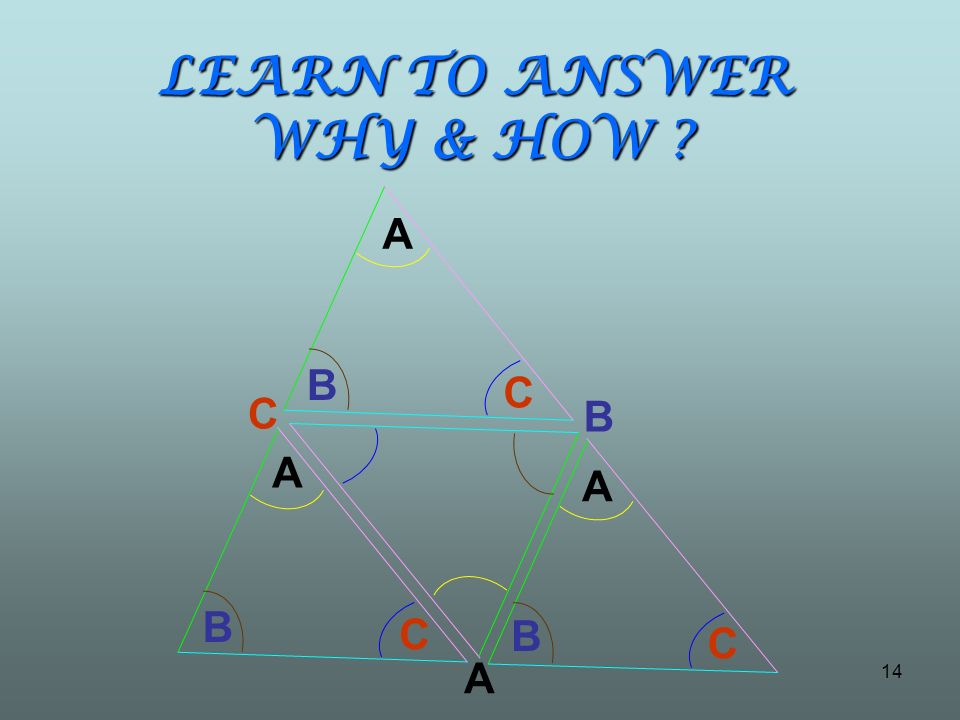 LEARN TO ANSWER WHY & HOW ? A B C B C A B C A B C A 14