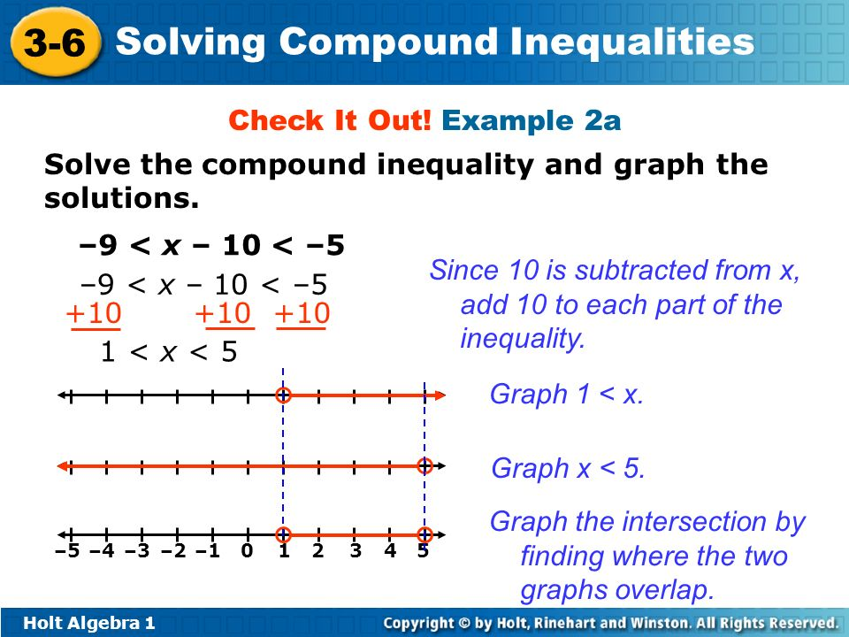 Holt Algebra 1 3-6 Solving Compound Inequalities Solve the compound inequality and graph the solutions. Check It Out! Example 2a –9 < x – 10 < –5 +10
