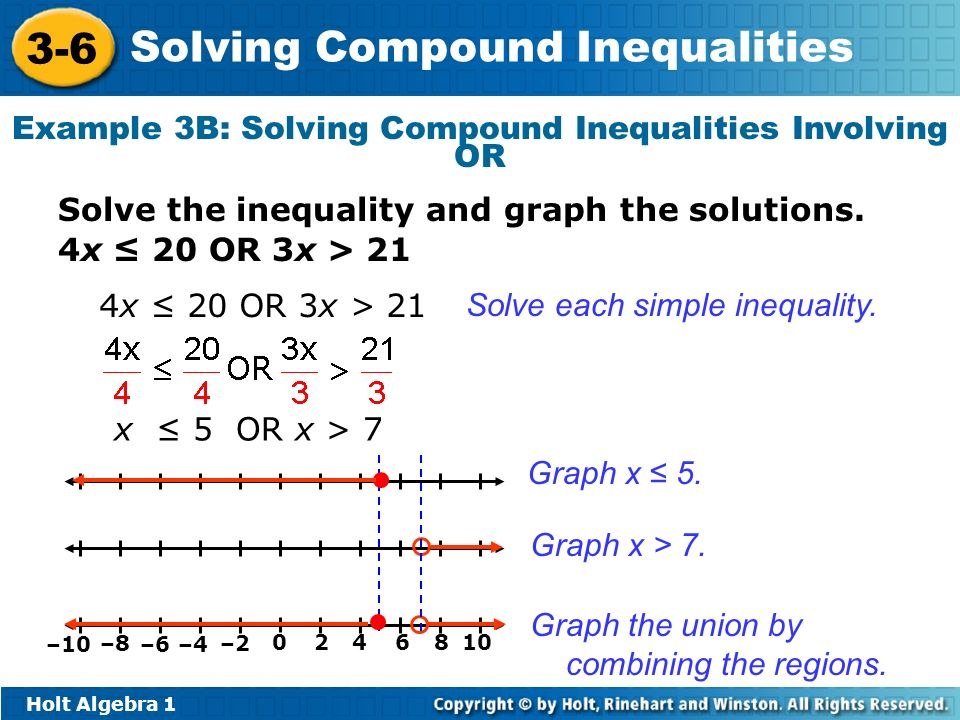 Holt Algebra 1 3-6 Solving Compound Inequalities Example 3B: Solving Compound Inequalities Involving OR Solve the inequality and graph the solutions.