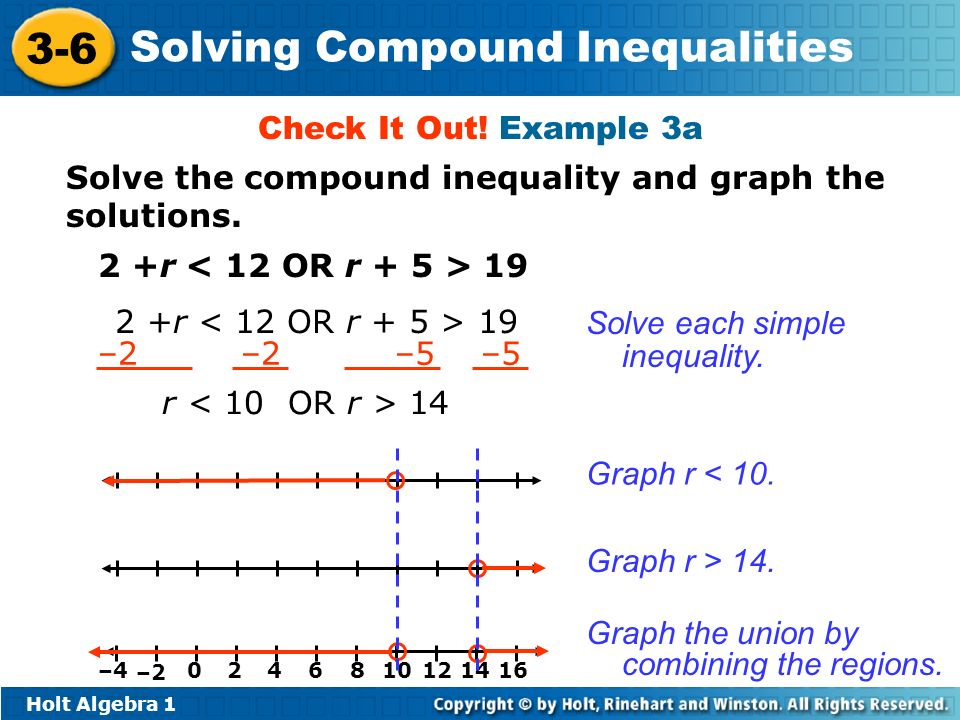 Holt Algebra 1 3-6 Solving Compound Inequalities Solve the compound inequality and graph the solutions. Check It Out! Example 3a 2 +r 19 –2 –2 –5 –5 r