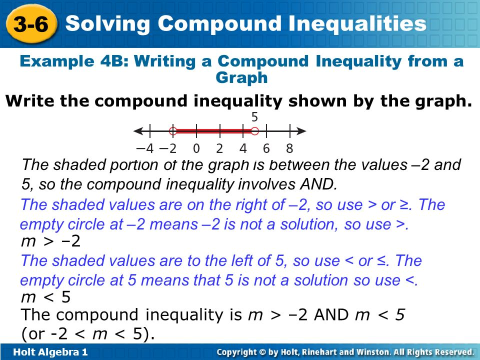Holt Algebra 1 3-6 Solving Compound Inequalities Example 4B: Writing a Compound Inequality from a Graph The shaded portion of the graph is between the