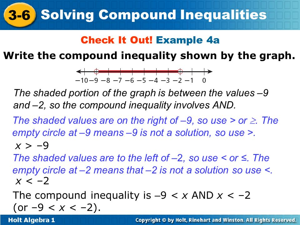 Holt Algebra 1 3-6 Solving Compound Inequalities Check It Out! Example 4a The shaded portion of the graph is between the values –9 and –2, so the comp