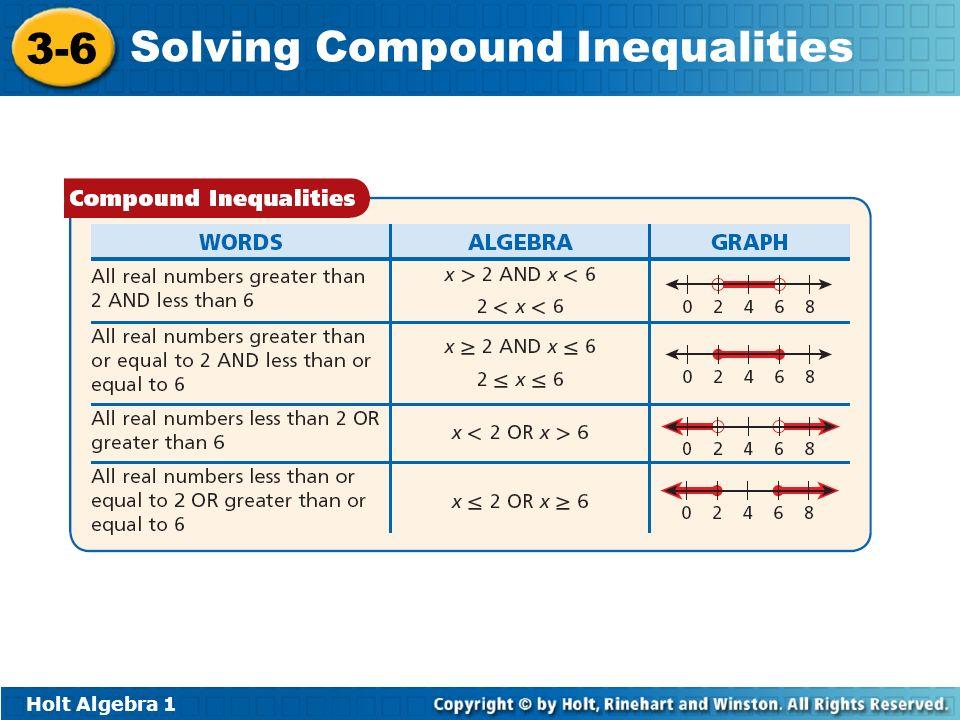 Holt Algebra 1 3-6 Solving Compound Inequalities