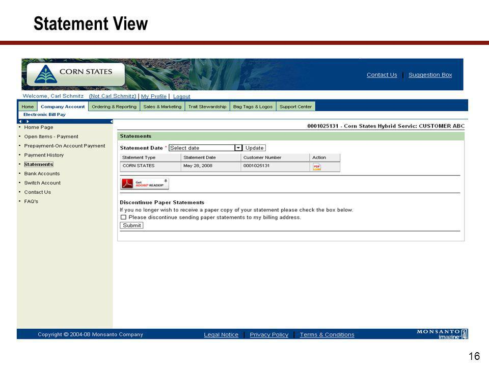 Statement Archive Design 15 Customer Statement is generated and indicator set to Send to Documentum Document Received by Documentum using HTTP Securit