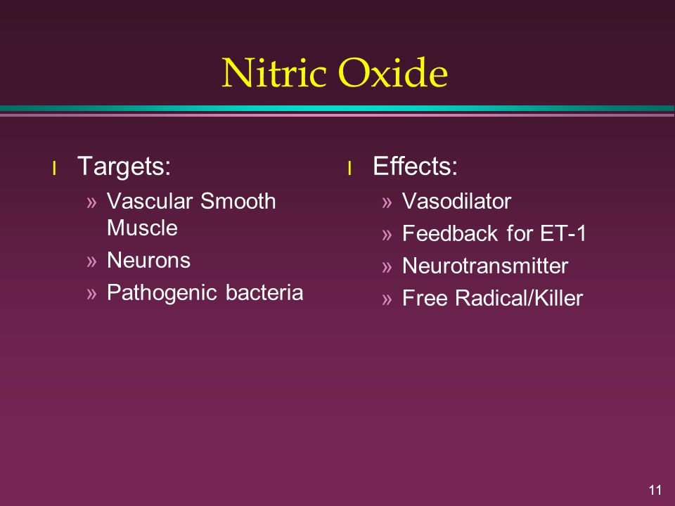 11 Nitric Oxide l Targets: »Vascular Smooth Muscle »Neurons »Pathogenic bacteria l Effects: »Vasodilator »Feedback for ET-1 »Neurotransmitter »Free Ra