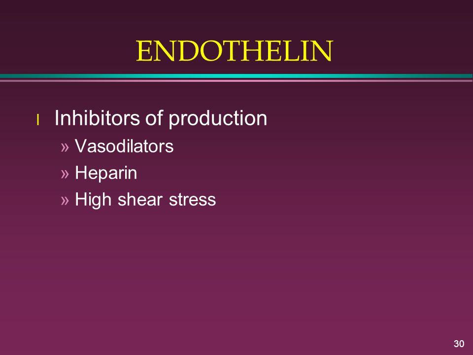 30 ENDOTHELIN l Inhibitors of production »Vasodilators »Heparin »High shear stress