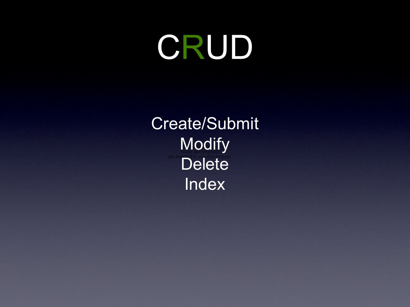 CRUD Create/Submit Modify Delete Index