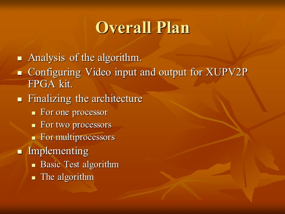 Overall Plan Analysis of the algorithm. Analysis of the algorithm.