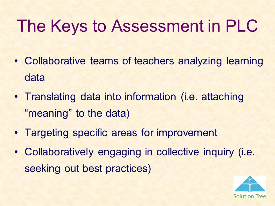 The Keys to Assessment in PLC Collaborative teams of teachers analyzing learning data Translating data into information (i.e. attaching meaning to the
