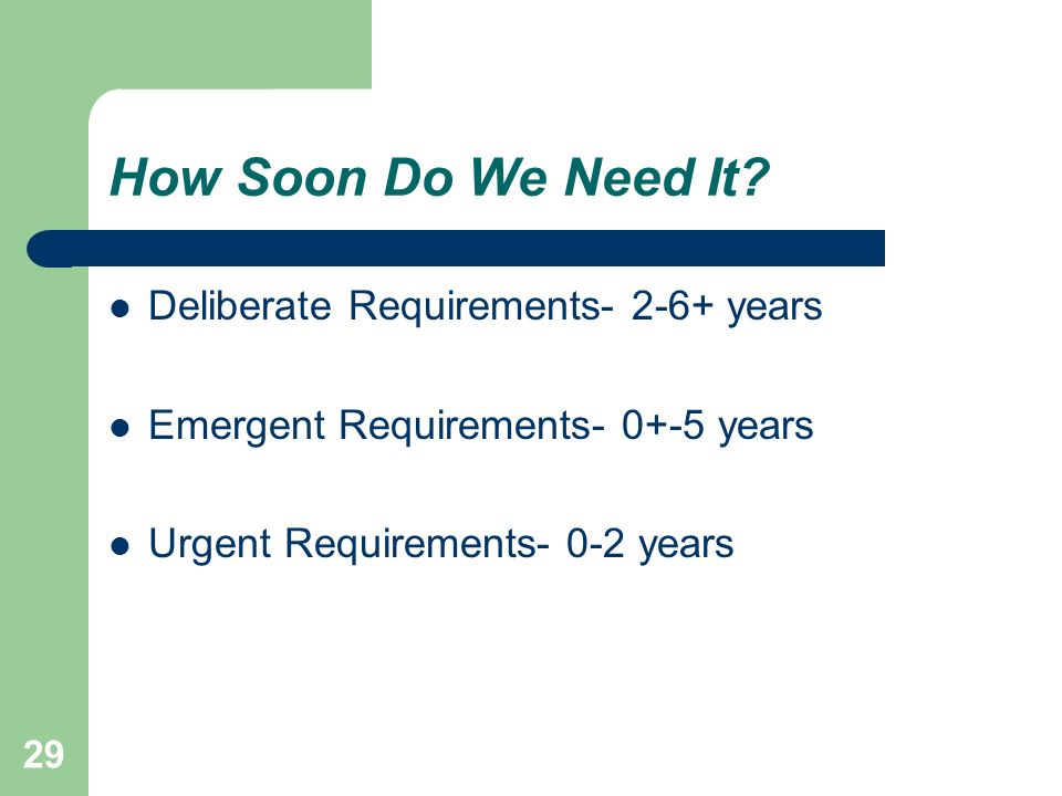 29 How Soon Do We Need It? Deliberate Requirements- 2-6+ years Emergent Requirements- 0+-5 years Urgent Requirements- 0-2 years