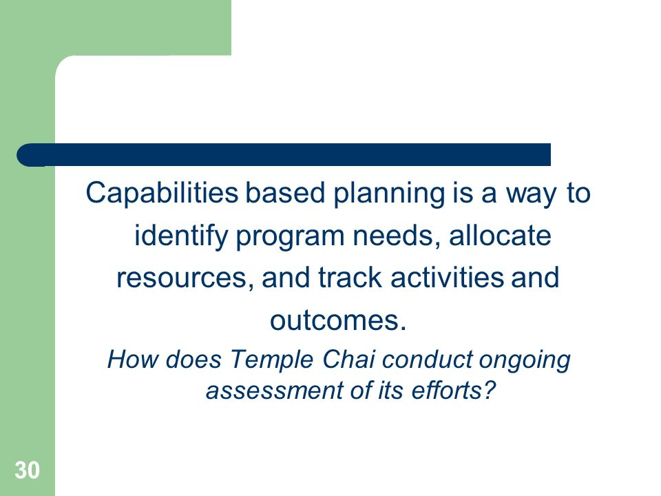 30 Capabilities based planning is a way to identify program needs, allocate resources, and track activities and outcomes. How does Temple Chai conduct