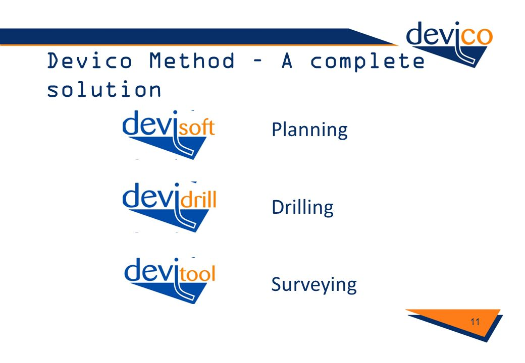 Devico Method – A complete solution 11 Planning Drilling Surveying