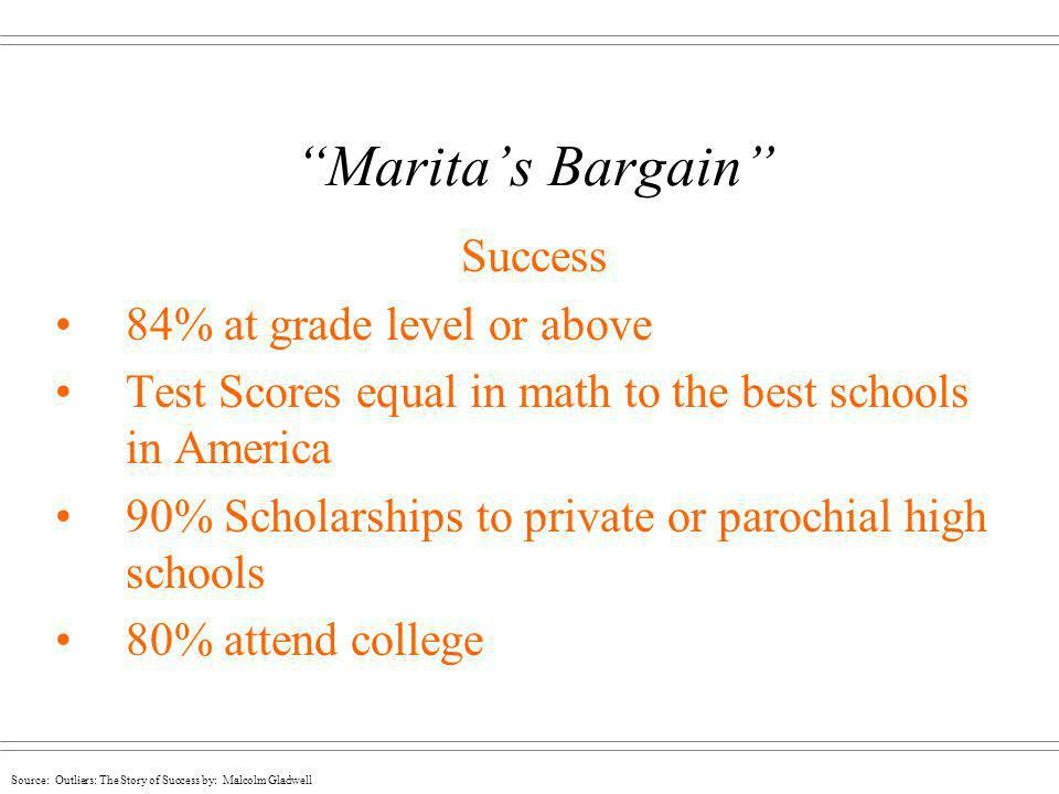 Source: Outliers: The Story of Success by: Malcolm Gladwell Maritas Bargain Success 84% at grade level or above Test Scores equal in math to the best